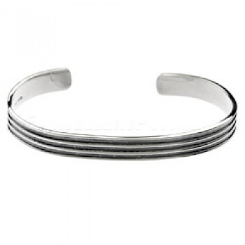 Oxidised Grooves Silver Bangle