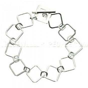 Polished Linked Square Silver Bracelet