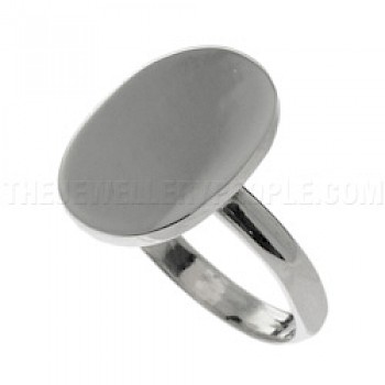 Polished Oval Silver Ring - Engraveable