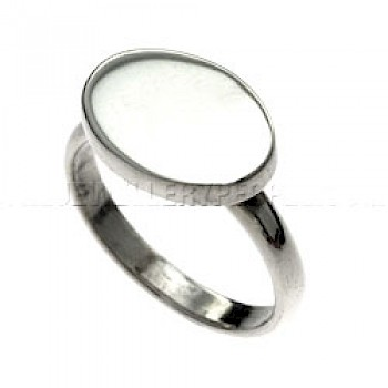 Polished Oval Silver Ring