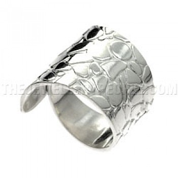 Polished Pebbles Curl Silver Ring - Adjustable