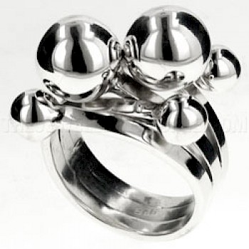 Polished Bauble Silver Wrap Ring