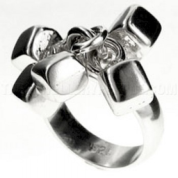 Polished Cubes Silver Ring