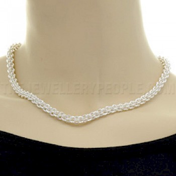 Polished Silver Rope Necklace - 5mm wide
