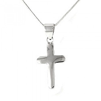 Polished Silver Rounded Cross Pendant