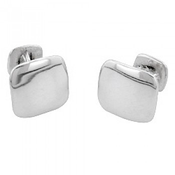 Polished Square Silver Cufflinks