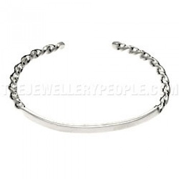 Polished Twisted Open Silver Bangle - 3mm Solid