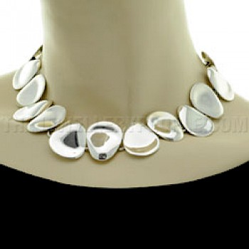 "Polished Petals Silver Necklace - 18"" long"