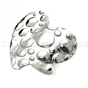 Polka Dot Heart Silver Ring