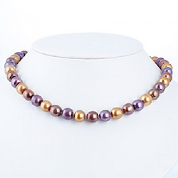 "Purple & Gold Silver Pearl Necklace - 11mm wide - 18"" long"