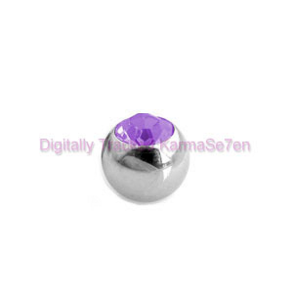 Purple Jewelled Surgical Steel Threaded Micro Ball (1.6mm x 5mm)