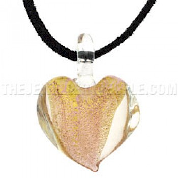 Clear & Gold Glass Heart Pendant