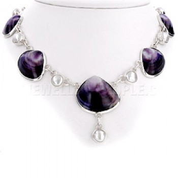 Purple Scallop & Pearl Silver Necklace