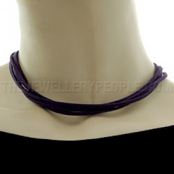 Purple Suede Necklace - Four Strands