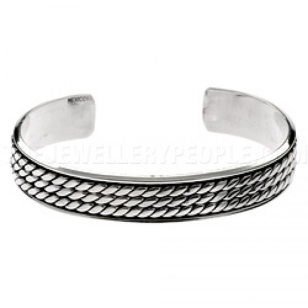 Raised Polished Rope Effect Bangle - 12mm Wide