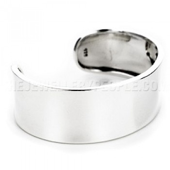 Raised Sides Silver Cuff Bangle - 24mm Wide