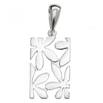 Rectangle Flower Silver Pendant