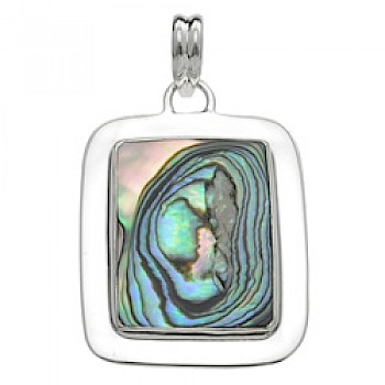 Rectangle Silver Abalone Shell Pendant
