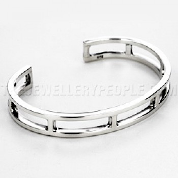 Rectangular Cut-Out Silver Bangle - 11mm Wide