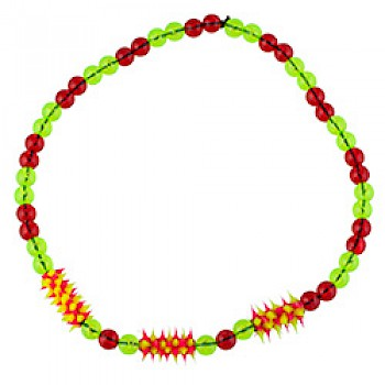 Red & Yellow Rubber Spike Bead Necklace