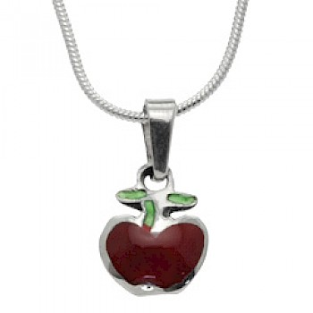 Red Apple Silver Pendant - 20mm