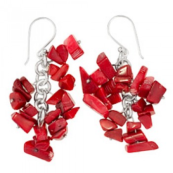 Dyed Red Coral Chunks Earrings