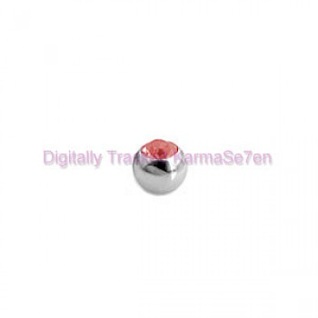 Red Jewelled Surgical Steel Threaded Micro Ball (1.2mm x 3mm)
