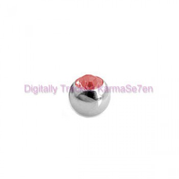 Red Jewelled Surgical Steel Threaded Micro Ball (1.6mm x 4mm)