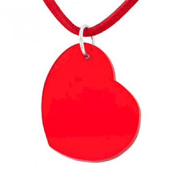 Red Resin Heart & Suede Necklace