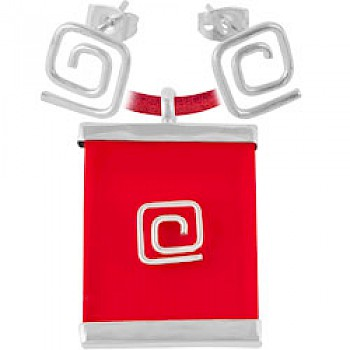 Red Square Spiral Earrings & Suede Necklace Set