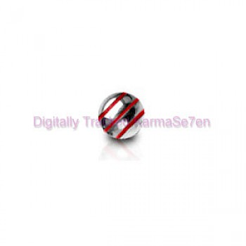 Red Stripes Surgical Steel Threaded Ball