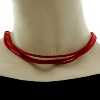 Red Suede Necklace - Four Strands