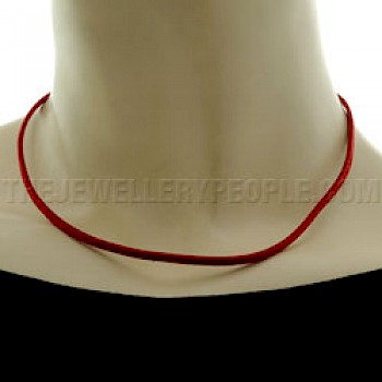 Red Suede Necklace - Single Strand