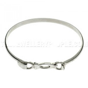 Ring Ichthus Fish Catch Silver Bangle-Small size