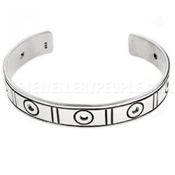 Rings & Rectangles Open Silver Bangle - 12mm Wide