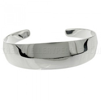 Risen Polished Silver Bangle - 20mm Wide