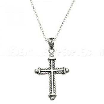 Rope Out Line Silver Cross Pendant
