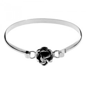 Rose Catch Polished Silver Bangle - Small to Medium size