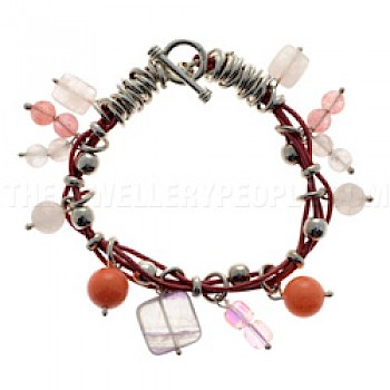 Rose Quartz Beaded Leather Bracelet