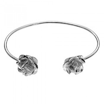 Roses Polished Silver Bangle - 15mm Wide Roses