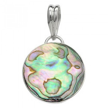 Round Abalone Shell Silver Pendant