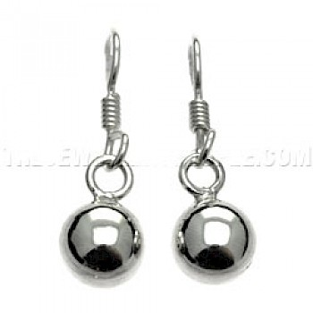 Round Bauble Silver Earrings - 8mm
