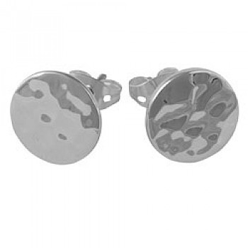 Round Hammered Silver Stud Earrings - 10mm Wide