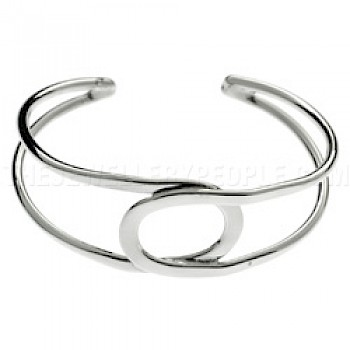 Round Loop Silver Bangle - 23mm Wide