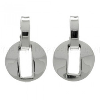 Round Slot Silver Earrings - 16mm Wide