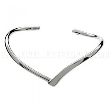 Round V Silver Bangle - 5mm Solid