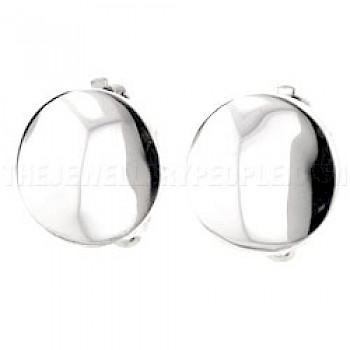 Rounded Disc Silver Clip-On Earrings - 15mm
