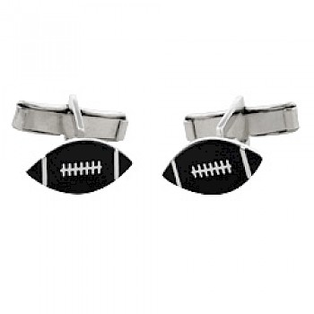 Rugby Ball Silver Cufflinks