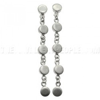 Satin Finish Disc Drop Earrings - 70mm Long