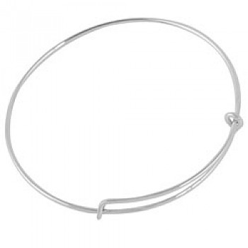 Single Wire adjustable Silver Bangle - Adults